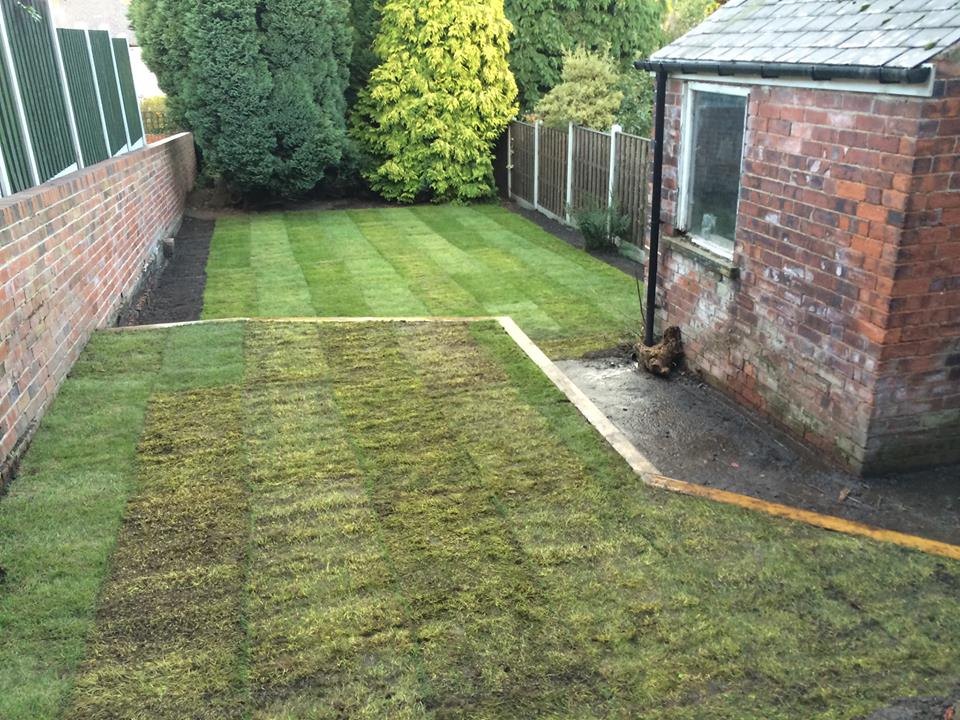 Garden clearance, sleeper work, level and turf | Bradley's